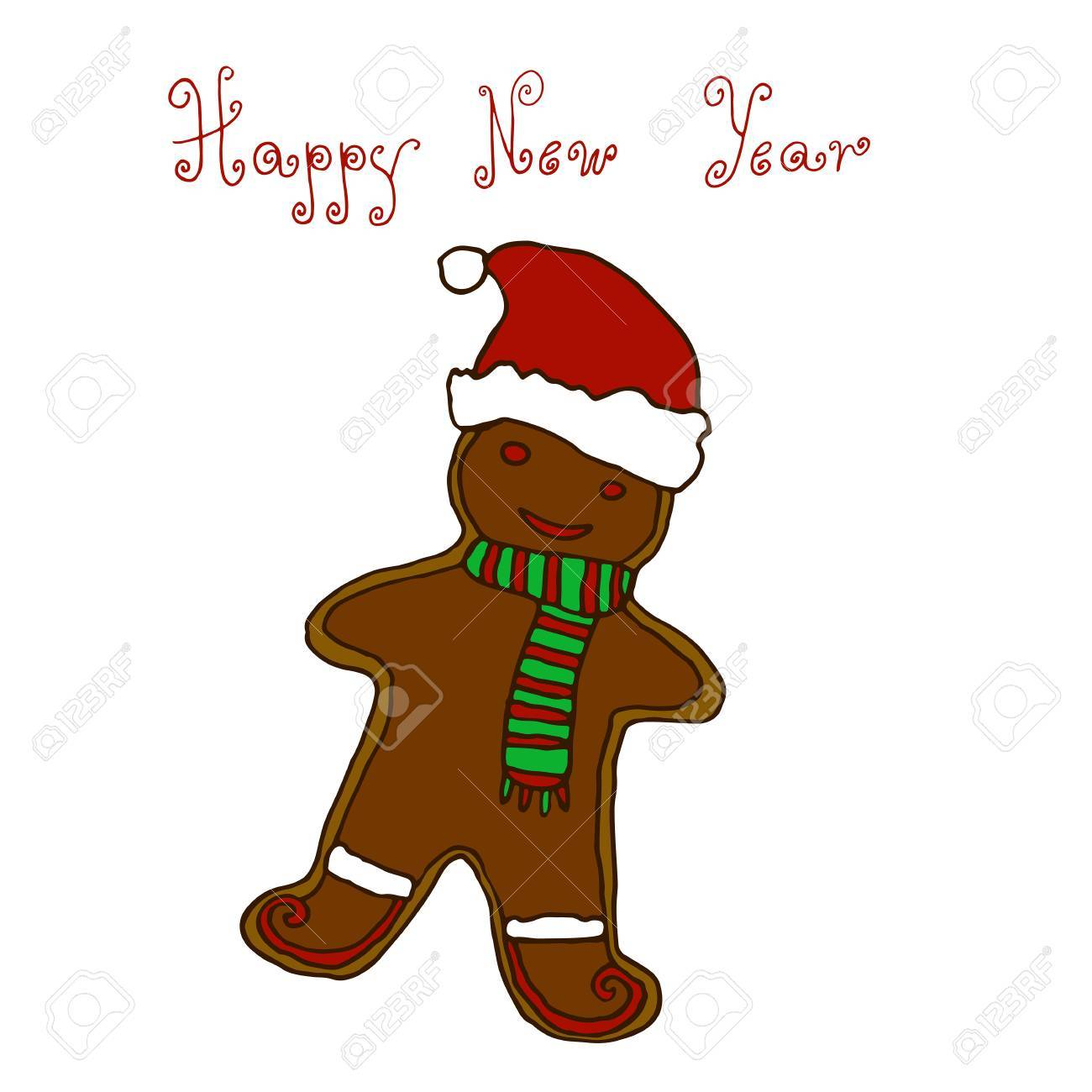1300x1300 Christmas, New Year Greeting Hand Drawing Card Design Gingerbread
