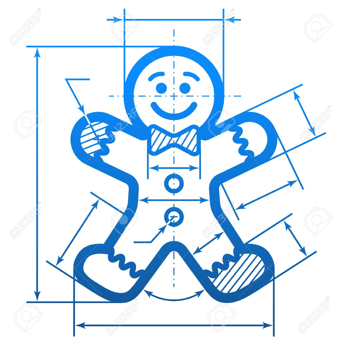 1300x1300 Gingerbread Man With Dimension Lines. Element Of Blueprint Drawing