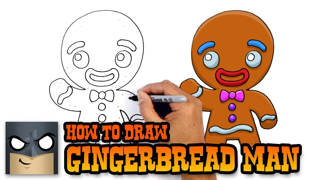 1280x720 How To Draw Gingerbread Man Christmas Drawing Lesson