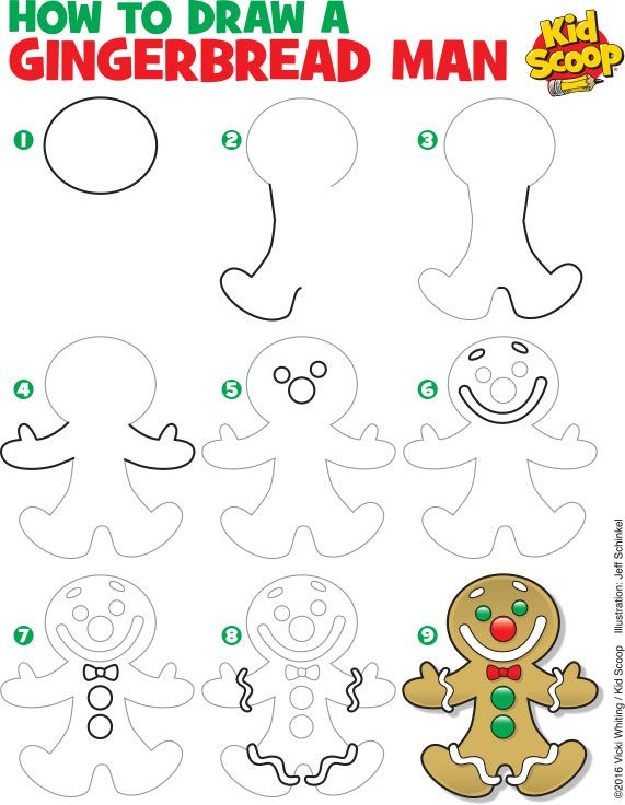 571x736 How To Draw A Gingerbread Man Kid Scoop Drawing Christmas Time