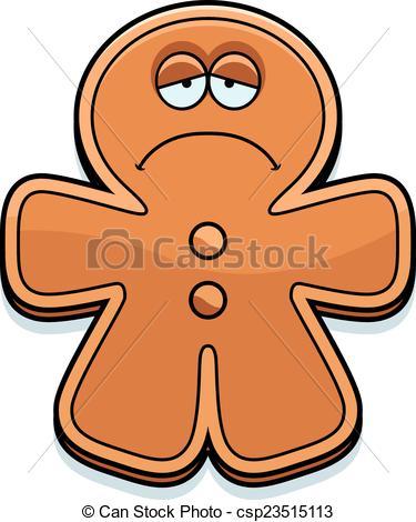 375x470 Sad Cartoon Gingerbread Man. A Cartoon Illustration Of A Vector