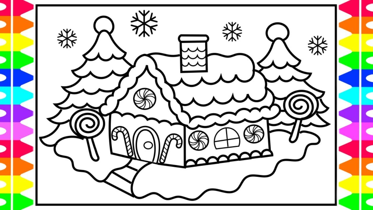 1280x720 CHRISTMAS COLORING How To Draw And Color A Gingerbread House