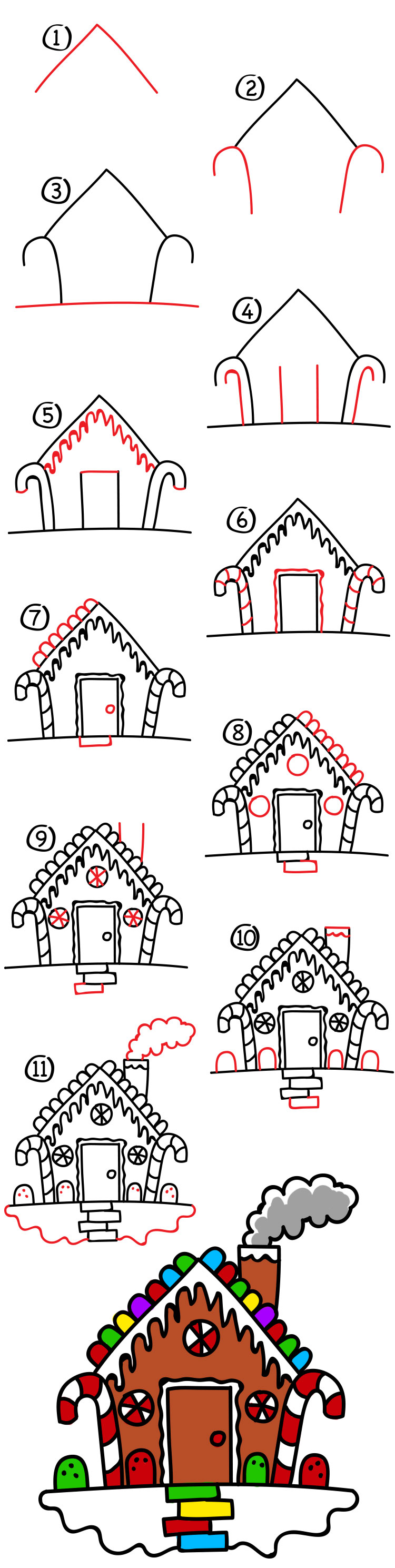 750x2977 How To Draw A Gingerbread House