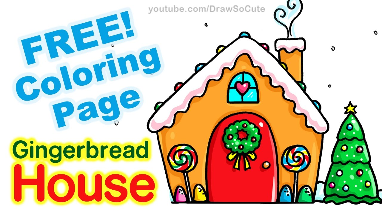 1280x720 How To Draw A Gingerbread House Step By Step Easy