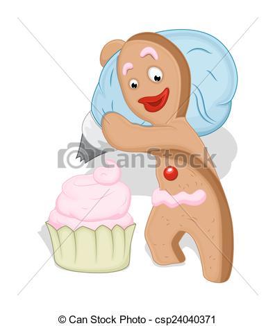 396x470 Gingerbread Man With Cup Cake. Cartoon Gingerbread Man Vectors