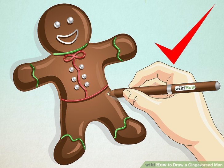 728x546 How To Draw A Gingerbread Man 8 Steps (With Pictures)