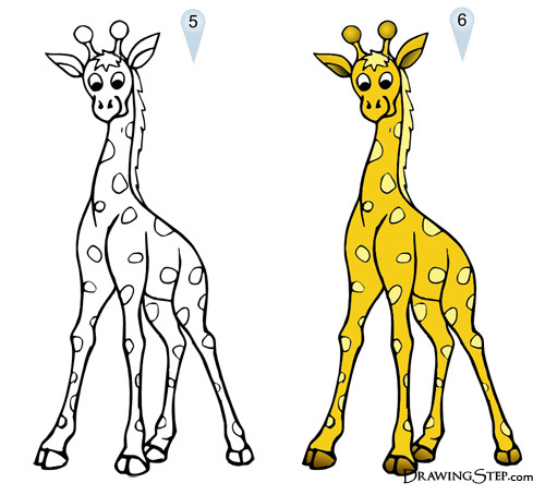 500x454 Cartoon Giraffe Drawing Lesson