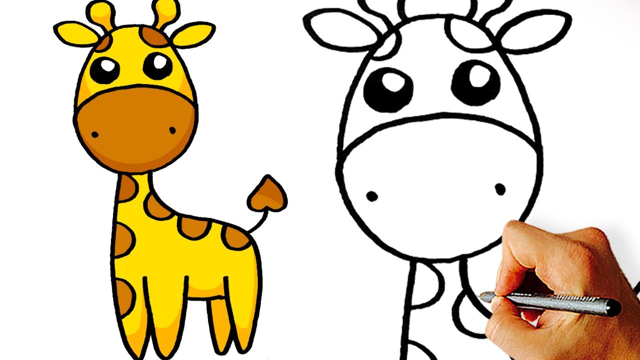 1280x720 Very Easy! How To Draw Cute Cartoon Giraffe. Art For Kids!