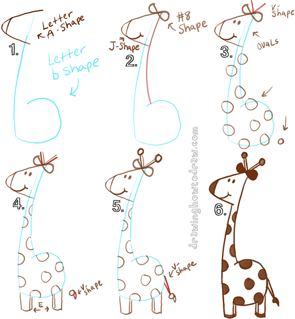 600x650 Big Guide To Drawing Cartoon Giraffes With Basic Shapes For Kids