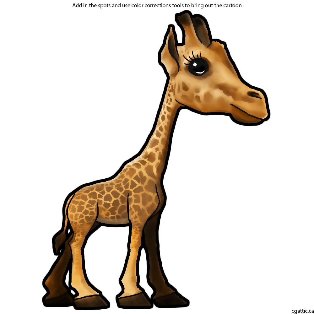 1000x1000 Cartoon Giraffe Drawing In 4 Steps With Photoshop