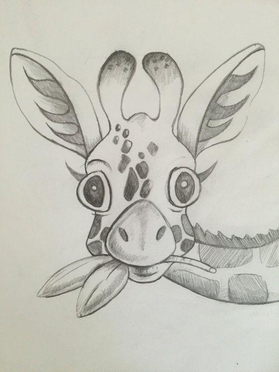 570x760 Baby Giraffe Sketch Print, Giraffe Pencil Sketch Illustration