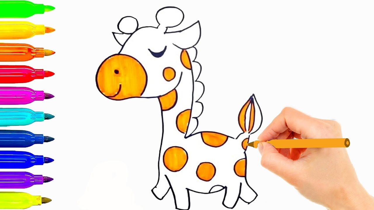 1280x720 How To Draw And Coloring So Cute Giraffe For Kids Learning Color