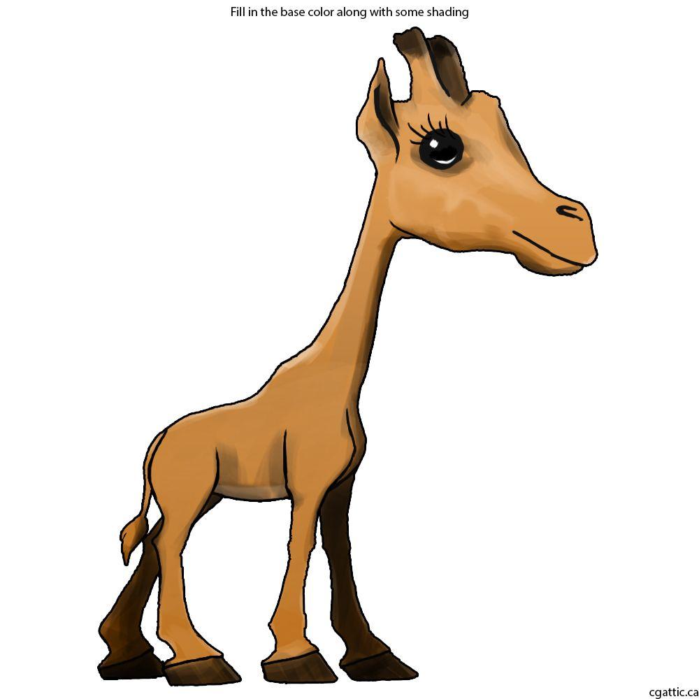 1000x1000 Cartoon Giraffe Drawing In 4 Steps With Photoshop Cartoon