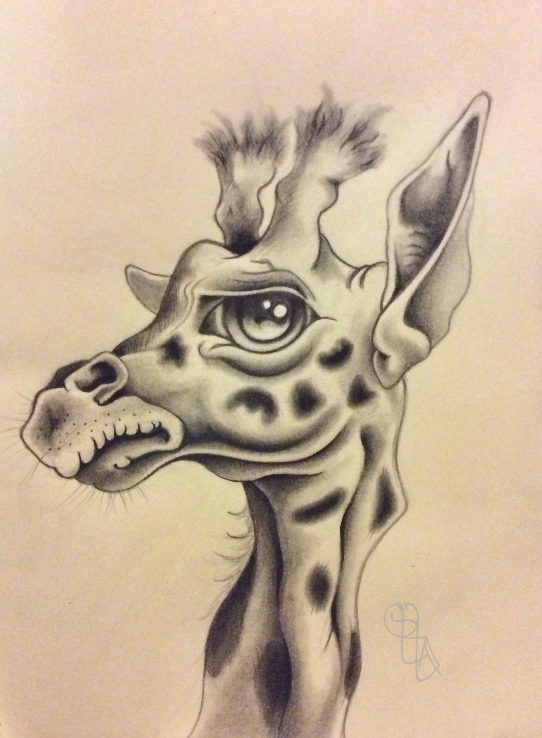 1730x2357 Character Giraffe Pencil Drawing On Tanned Paper Pencil Studies