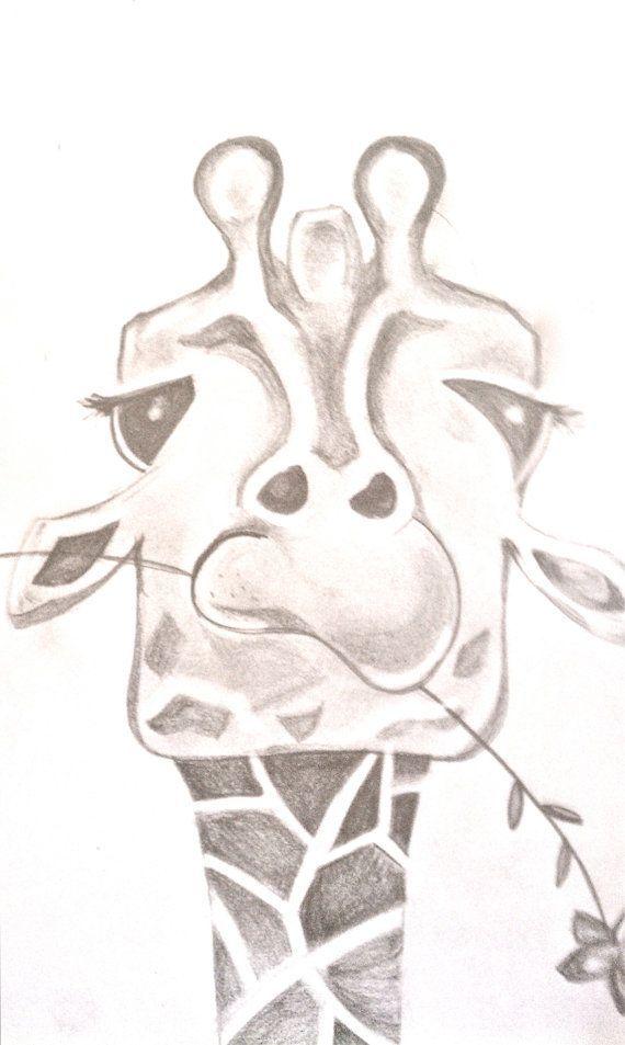 570x953 Funny Giraffe Drawing. By Bunnytheduck On Etsy, Animal Sketch