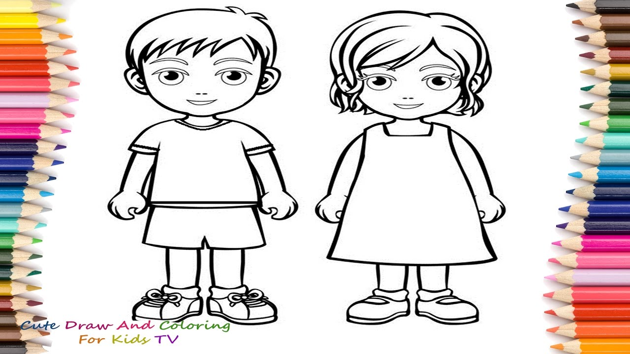 High Quality 1280x720 How To Draw And Color Boy And Girl Coloring Pages For Childrens
