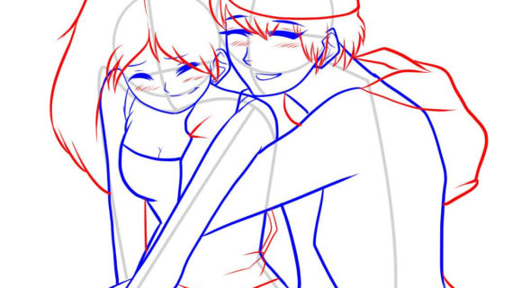 570x320 Anime Boy And Girl Drawing Images For Gt Anime Girl And Boy Holding