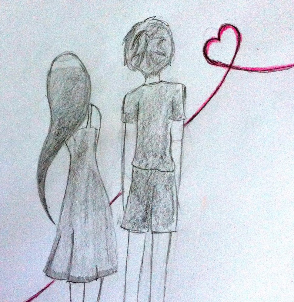 970x999 Drawing Of A Boy And A Girl Holding Hands Boy Girl Drawing Images