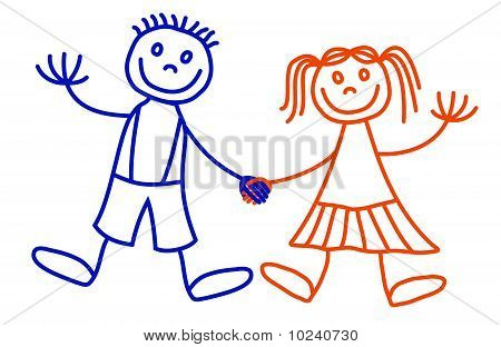 450x312 Drawing Of A Boy And Girl Holding Hands