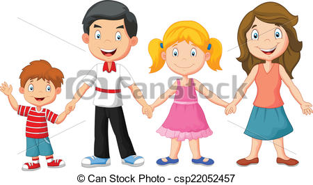 450x266 Vector Illustration Of Happy Family Holding Hands Clipart Vector