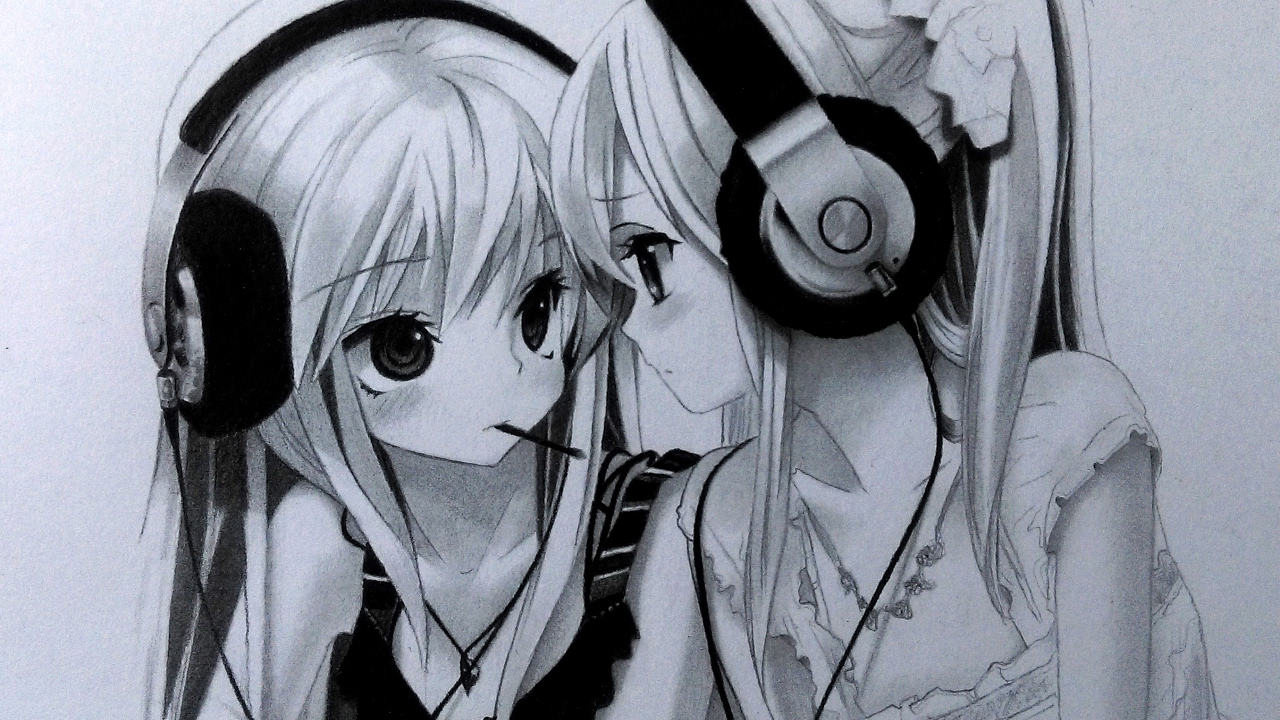 1280x720 Drawing Two Anime Girls With Headphones Graphite Pencil