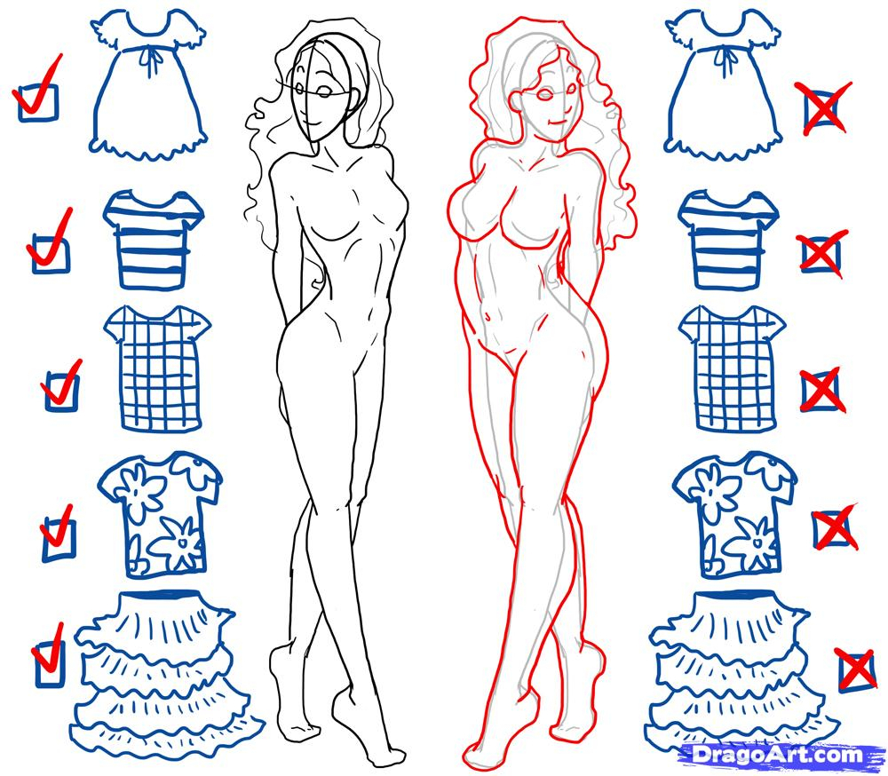 1000x874 Step By Step On How To Sketch Girls Body