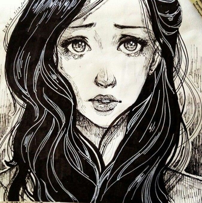 675x678 Drawing Of Crying Girl.