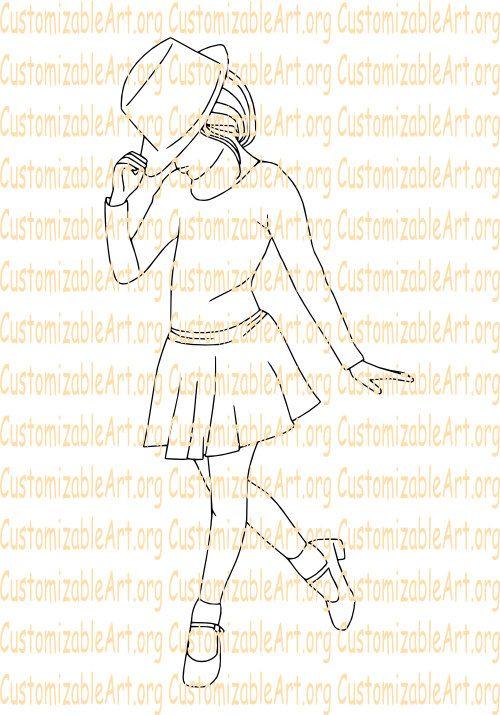 500x715 Tap Dance Digital Stamp Tap Dancer Digi Stamp Girl Tap Dancing