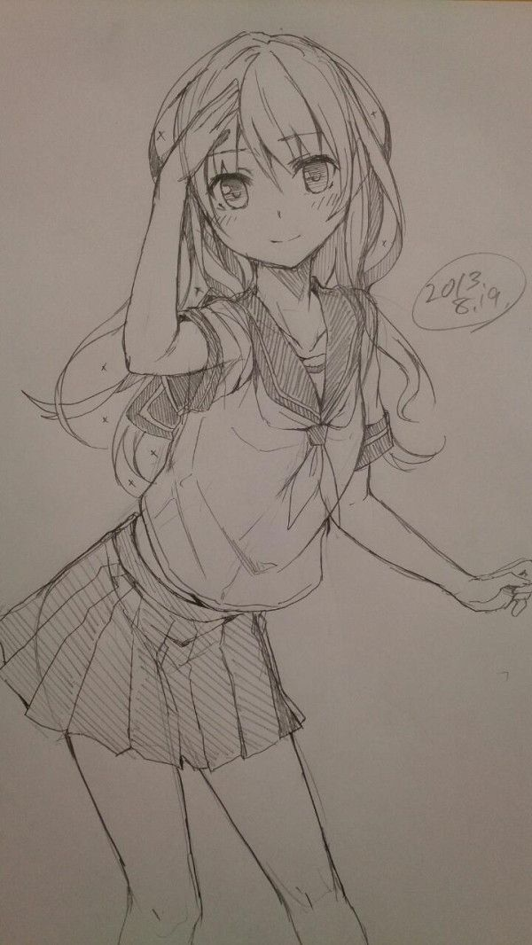600x1066 anime girl drawing