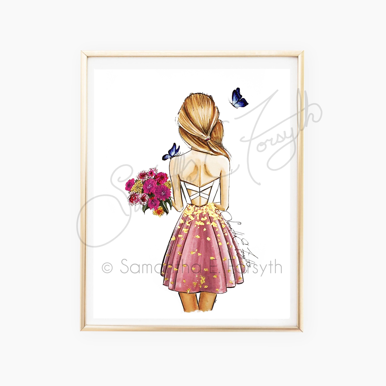 3000x3000 Fashion Illustration Print, Fashion Sketch, Back Of Girl Drawing