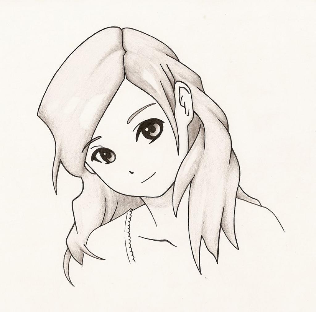 1024x1009 Anime Drawings Girl Easy Simple Anime Girl Drawing Easy Manga Girl