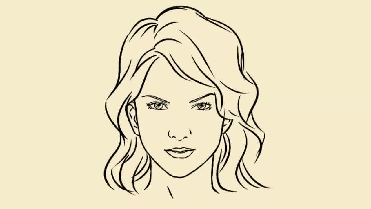 1280x720 Girl Face Drawing Simple Easy Girl Drawing Free Download Clip