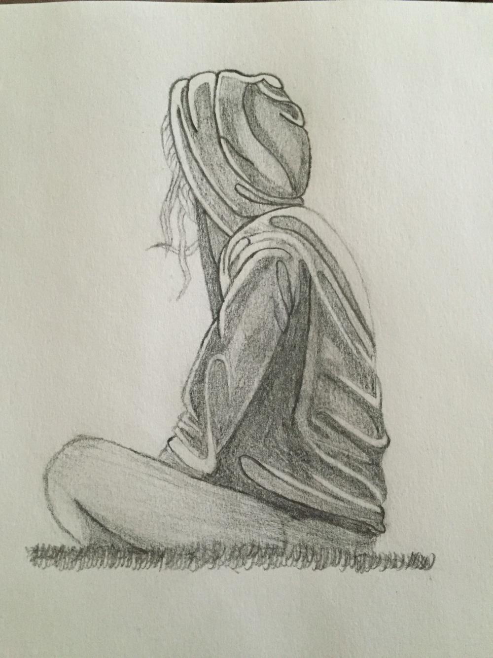 1000x1334 Pencil Sketching Of Sad Girl 3d Pencils Sketching Wallpapers Sad