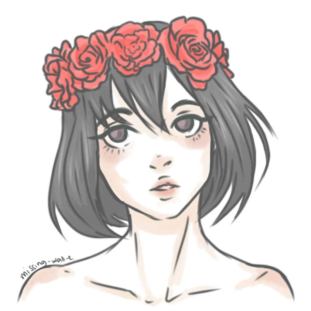 1024x1024 Sad Girls With Flowers Drawings Flower Girl Drawing Tumblr Sad