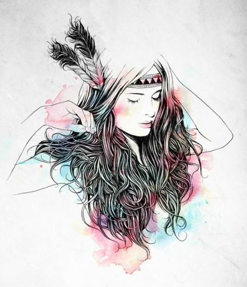 488x565 Hipster Girl Drawing On Tumblr On We Heart It