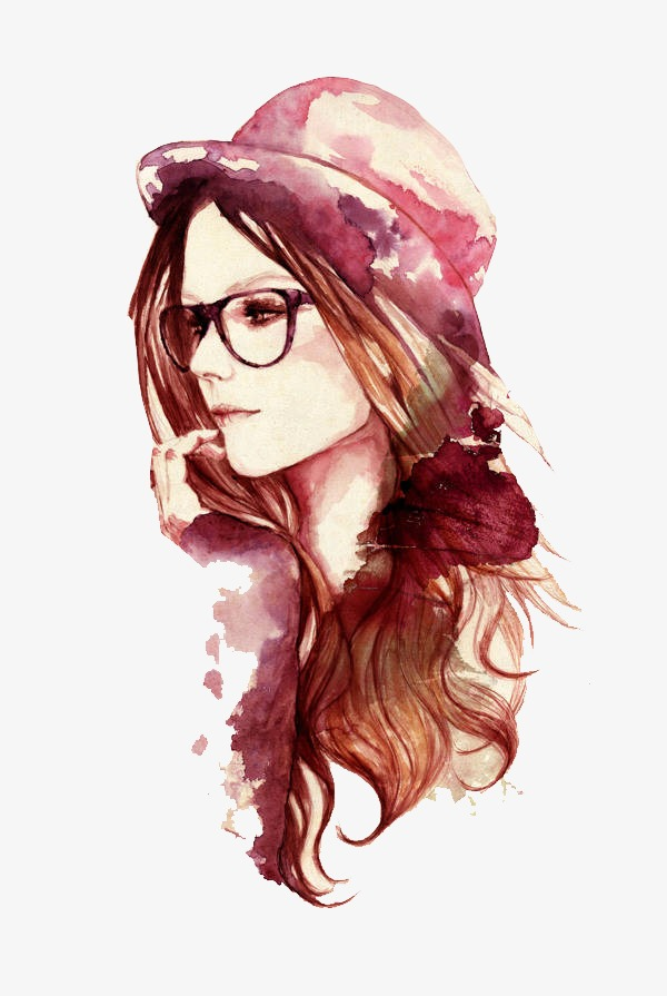 600x895 Drawing Girls, Watercolor, Purple, Fashion Png And Vector For Free