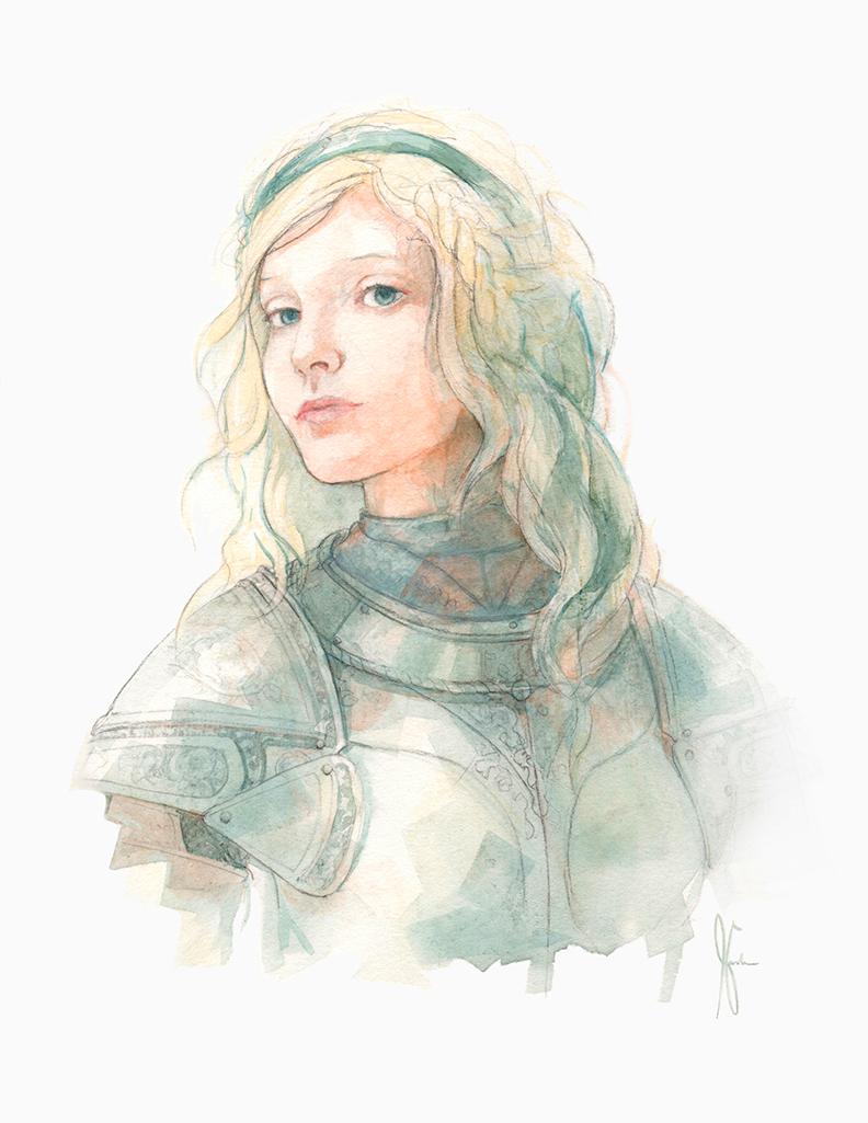 792x1025 Watercolor Girl In Armor Gardner Art And Stuff