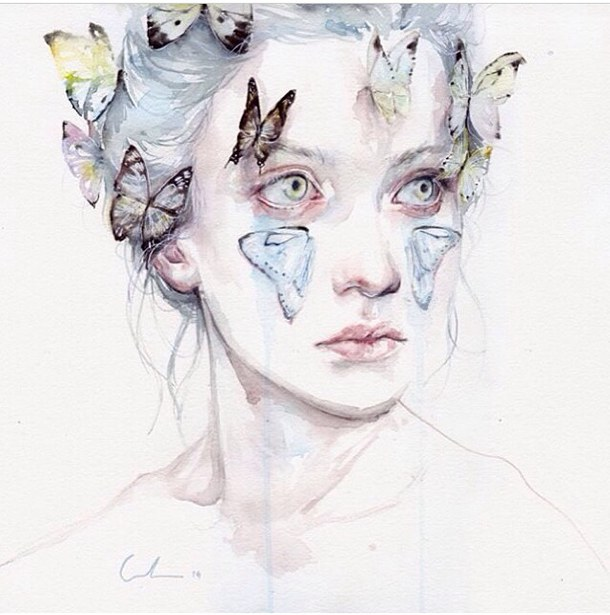 610x615 Art, Artist, Blue, Butterfly, Color, Diy, Draw, Drawing, Girl