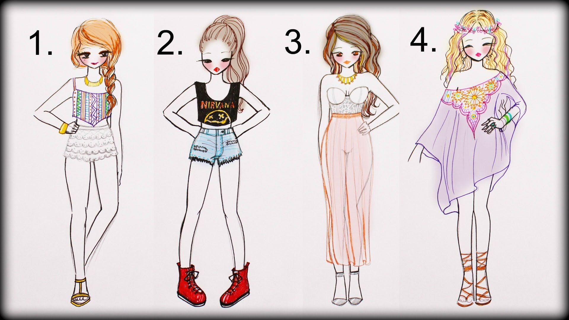 1920x1080 Easy Sketches Of Girls Fashion Drawing Tutorial
