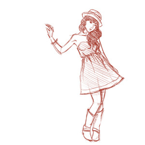 300x300 Hand Drawing Of A Pretty Fashion Girl In Sketch Style. Vector