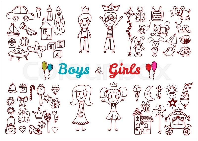 800x571 Hand Drawn Baby Boy And Girl Toys Set. Elements From A Child'S