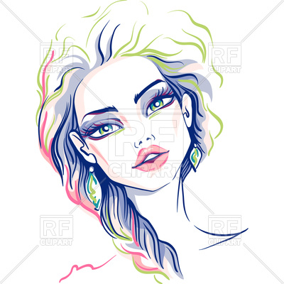 400x400 Hand Drawn Beautiful Girl Royalty Free Vector Clip Art Image