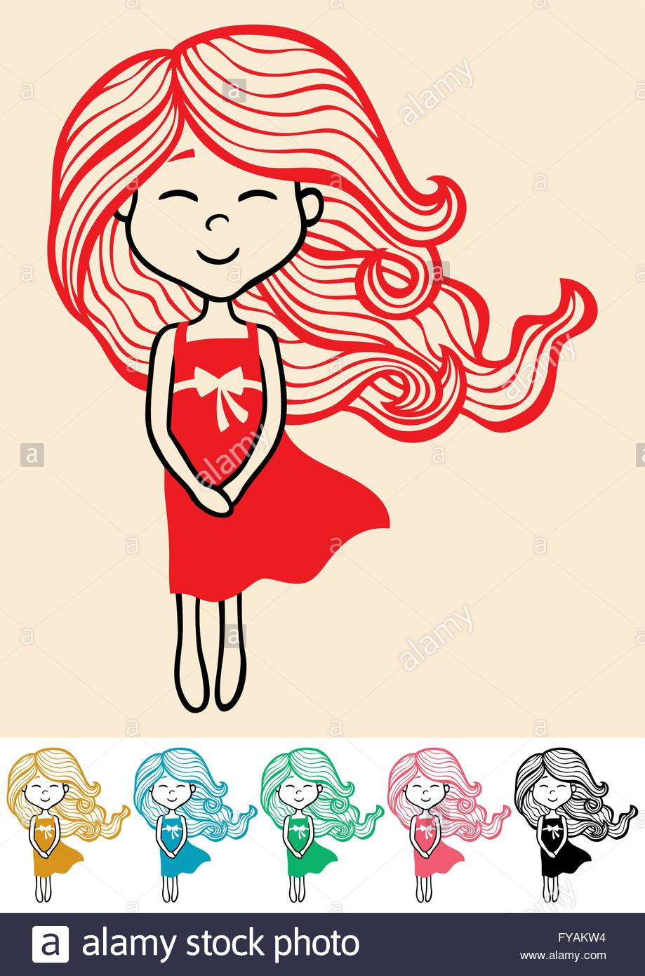 919x1390 Hand Drawn Little Girl In 6 Color Versions Stock Vector Art