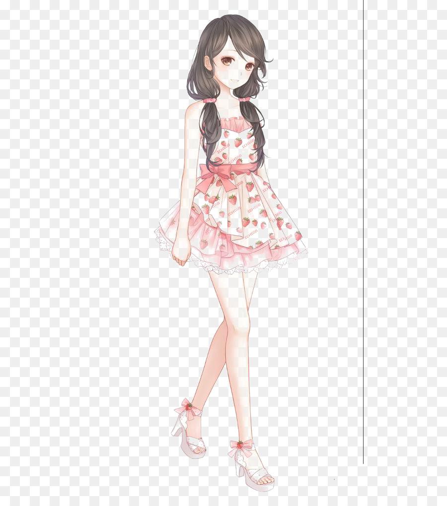 900x1020 Anime Drawing Girl Dress