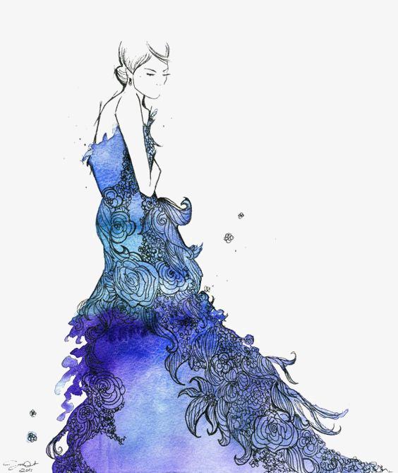 564x669 Blue Dress Girl, Creative Girl, Drawing Girls, Cartoon Girl Png