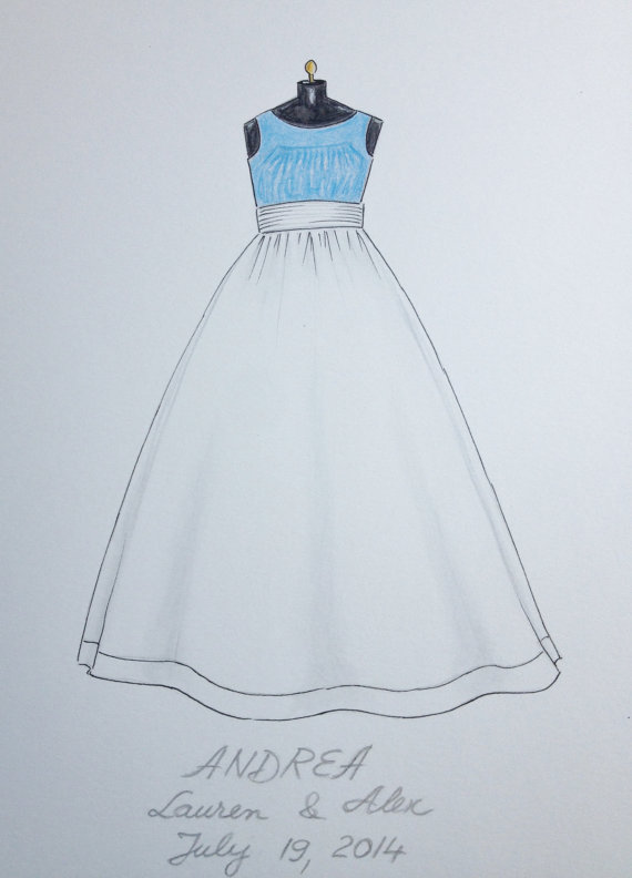 570x792 Custom Wedding Flower Girl Dress Sketch Original Dress