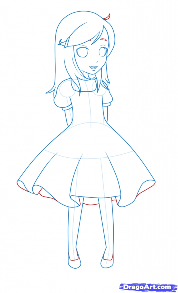 623x1024 drawing of a girl in a dress