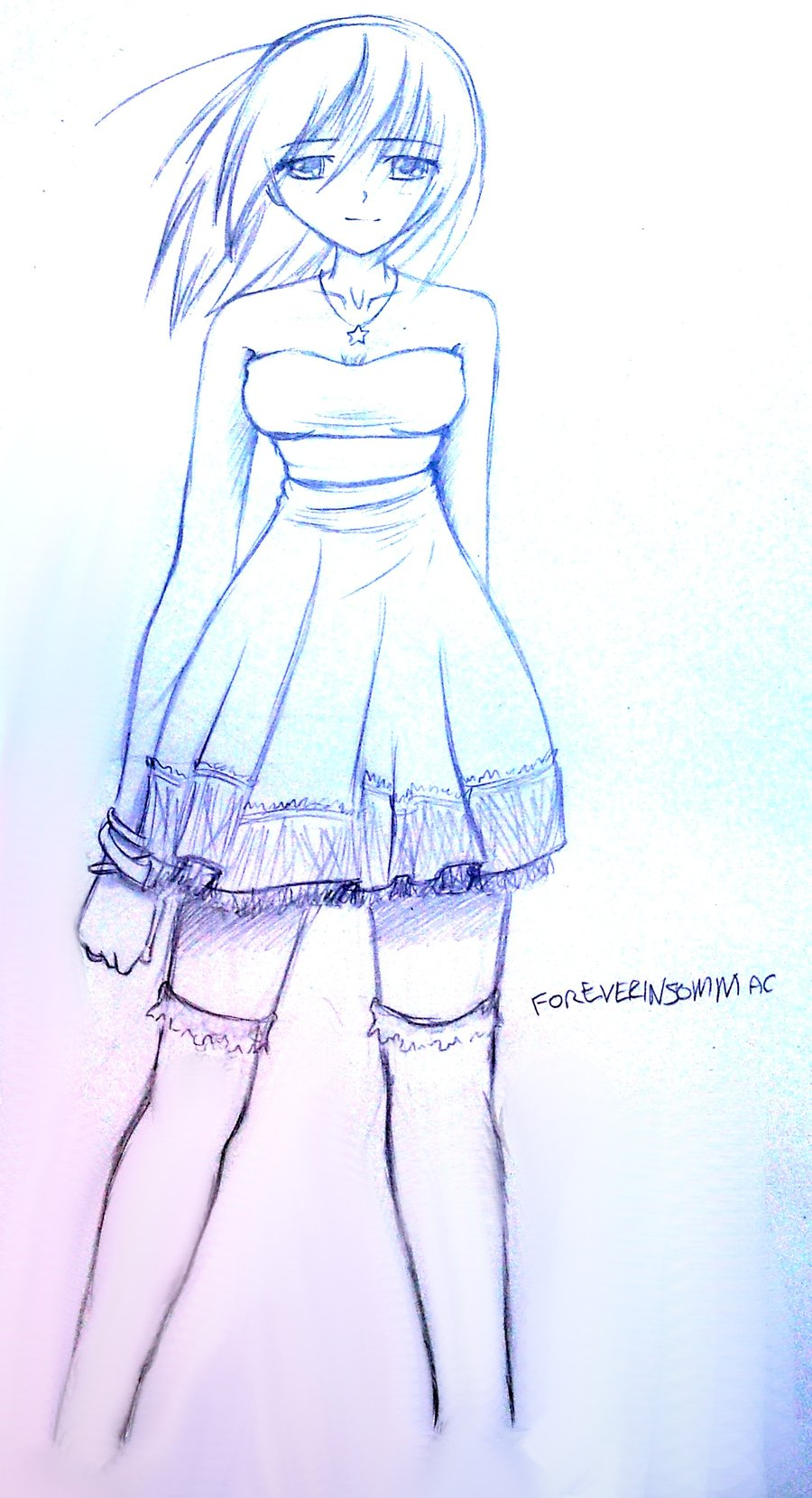 900x1660 Girl In Dress Sketch By Fishingforcats