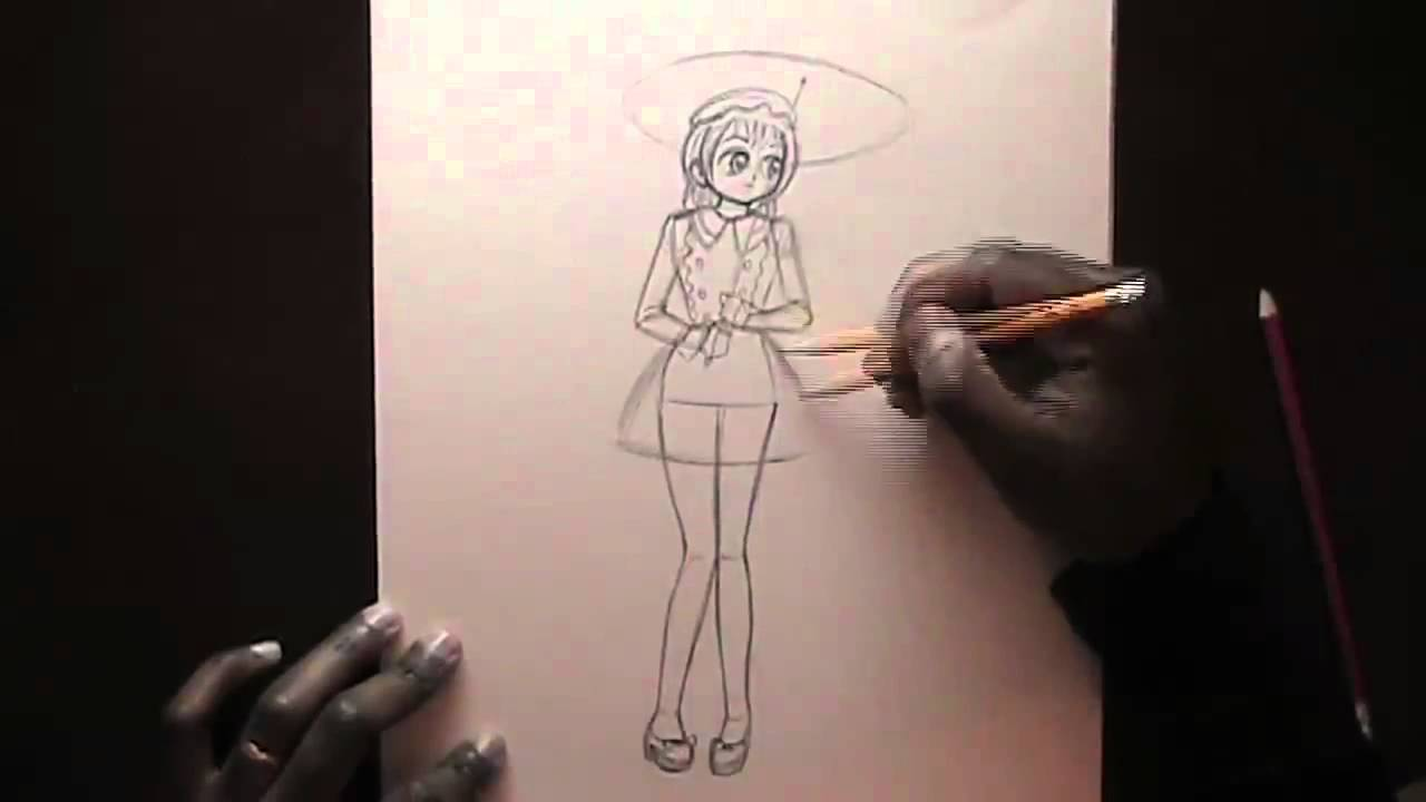 1280x720 How To Draw A Girl In A Dress.