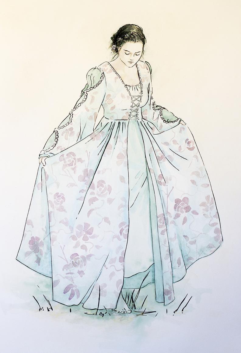 792x1156 Watercolor Girl In Dress Gardner Art And Stuff